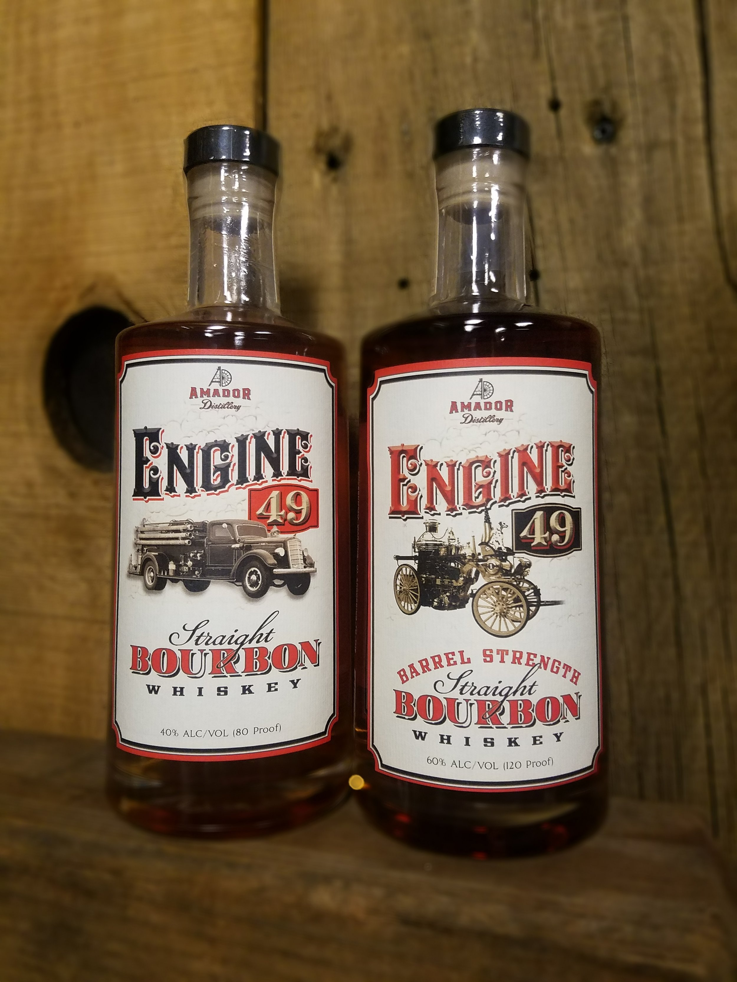 Engine 49 Straight Bourbon Whiskey - The Engine 49 80 proof Bourbon is a wonderful bottle for both beginner and advanced spirits consumers. The heat and lack of humidity give a very smooth and deep flavor without the typical burn or thin flavor many young bourbons acquire. We keep all our barrels in a warehouse environment that promotes the barrels pulling the spirit into the staves. This gives a very smooth and easy to drink bourbon, that also provides a deep flavor profile. The mash bill is 75% corn and 24% rye with 1% set aside for malted barley to help fermentation. This gives us a unique style that many can enjoy.The Barrel Strength Engine 49 Bourbon is 120 proof for consistency. The barrels mirror the 80 proof Engine 49 Bourbon, but instead of taking the spirit down to typical 80 proof we keep it close to how it ages in the barrel.80 & 120 PF