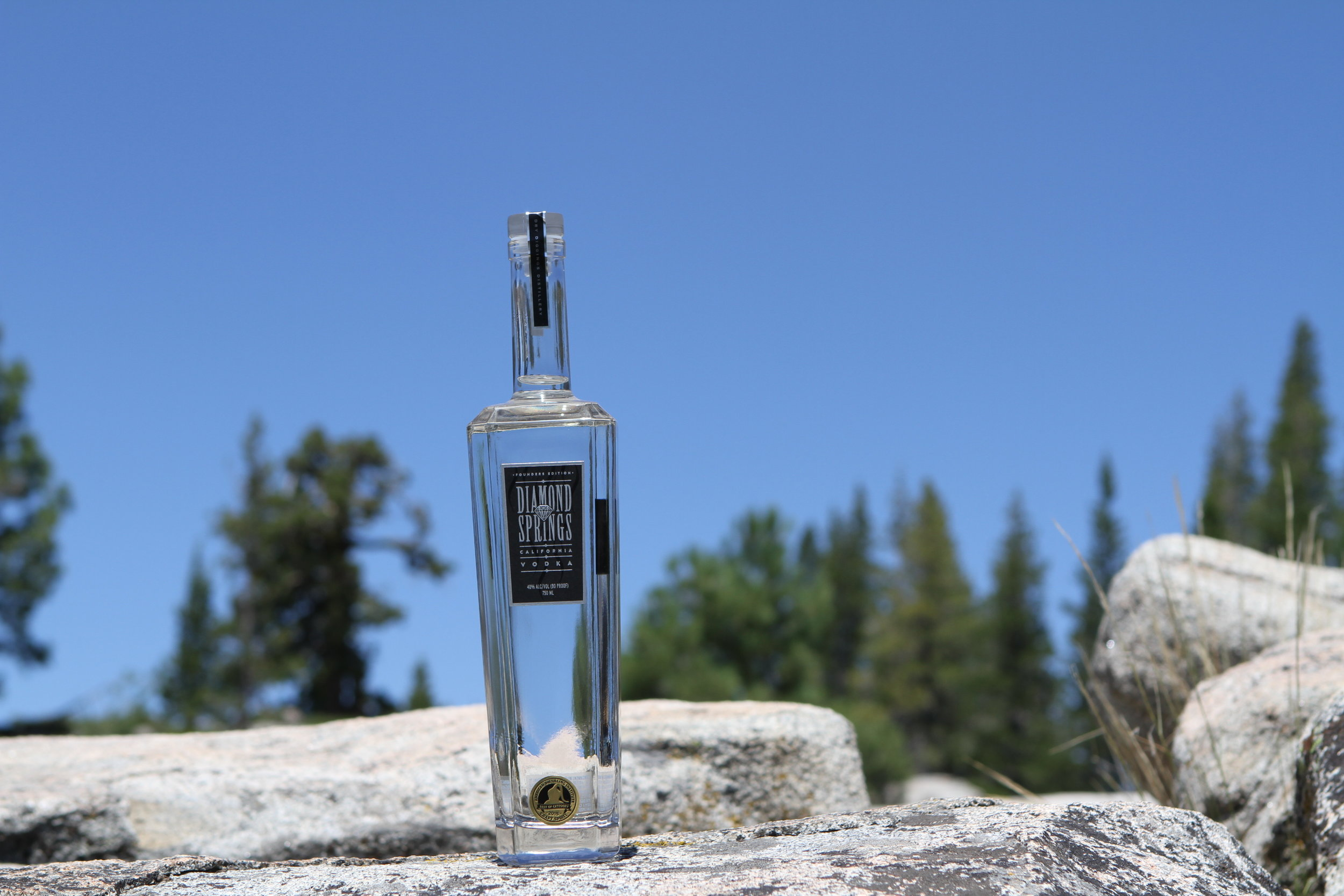 Diamond Springs Vodka - Diamond Springs Vodka takes its name from the gold rush town that supplied the fresh drinking water for miners away from all the dangerous chemicals. This vodka was designed to take advantage of the multiple stills Dry Diggings has on site to create a unique product in a crowded spirit space. Most vodkas rely on sugars, citric acid or other additives to develop their unique characteristics. We distill this vodka from local Northern California wines for it's subtle and smooth taste. We use nothing post distillation in any of our products to create our tastes, mouthfeel or finish.From the first sip to the last, Diamond Springs Vodka gives smooth, crisp and clean a new definition. This vodka works as straight sipper, over ice or a dirty martini. Our recommendation is to keep Diamond Springs Vodka in lighter cocktails where it can shine.80PF