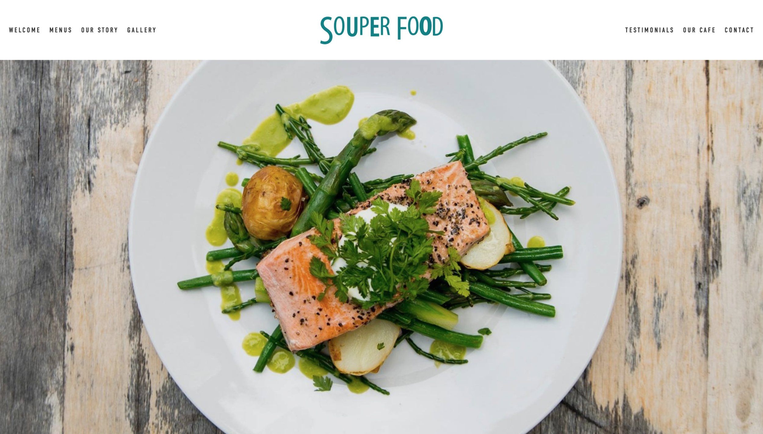 Click to view my custom-built website for Souper Food.