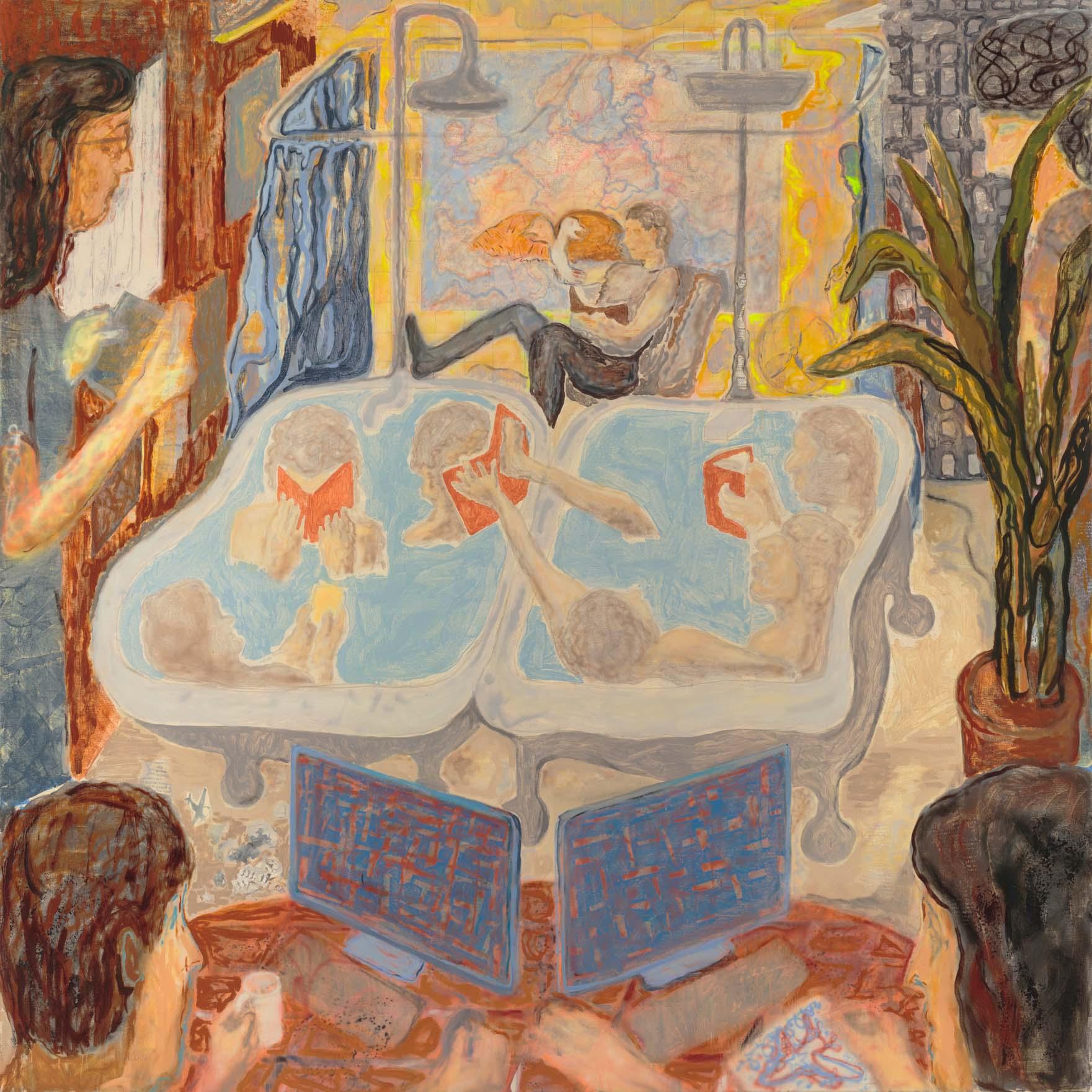 "Bathtub Hebrew School, 72"" x 72"", Oil, Screenprint,  Acrylic, and Airbrush on Canvas, 2017."