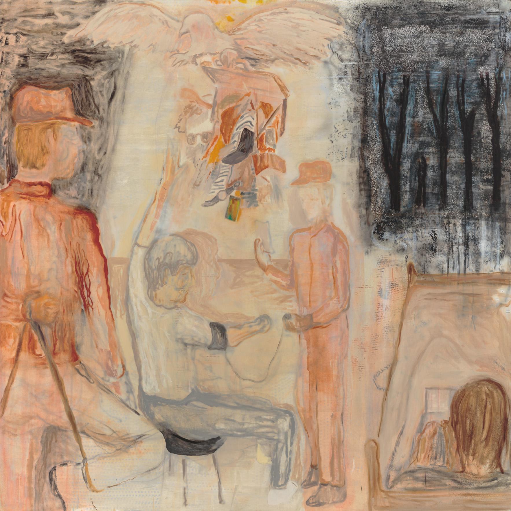 "Interrogation, 72"" x 72"", Oil, Screenprint, Acrylic,  and Airbrush on Canvas, 2017."
