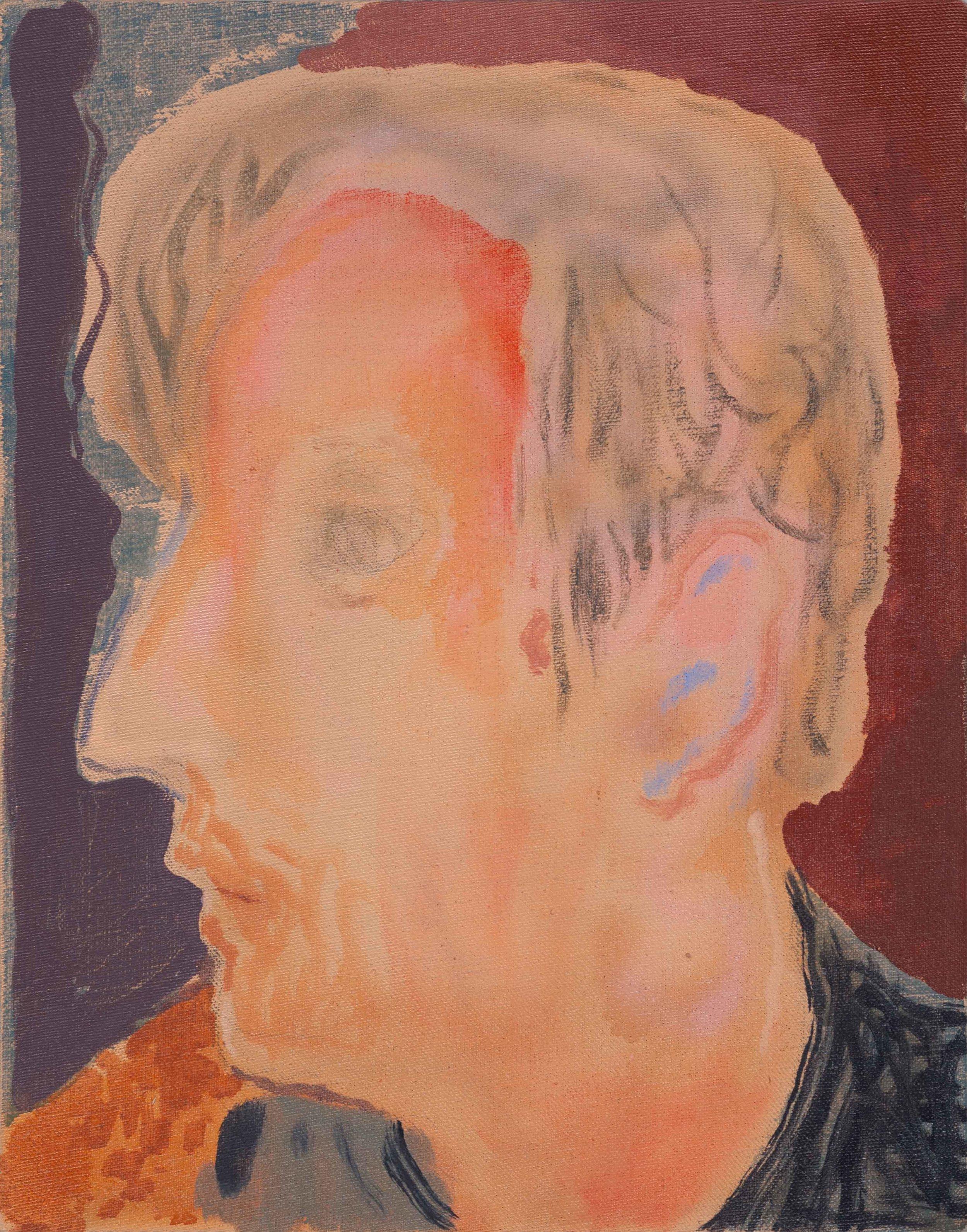 """Head, Oil, Spray Paint, and Acrylic on Linen, 11"""" x 14"""", 2019."""