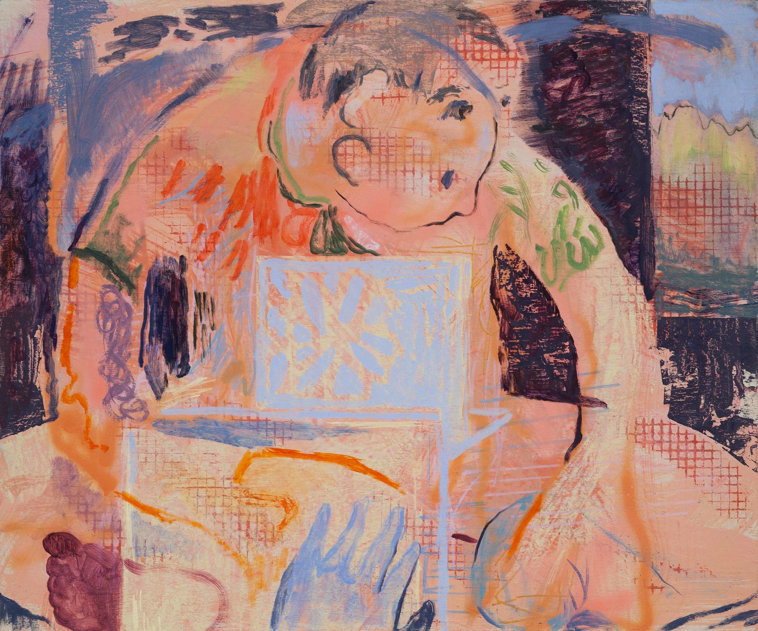 Laptop Portrait, Oil, Screen Print, Spray Paint, and Acrylic on Canvas, 2019.