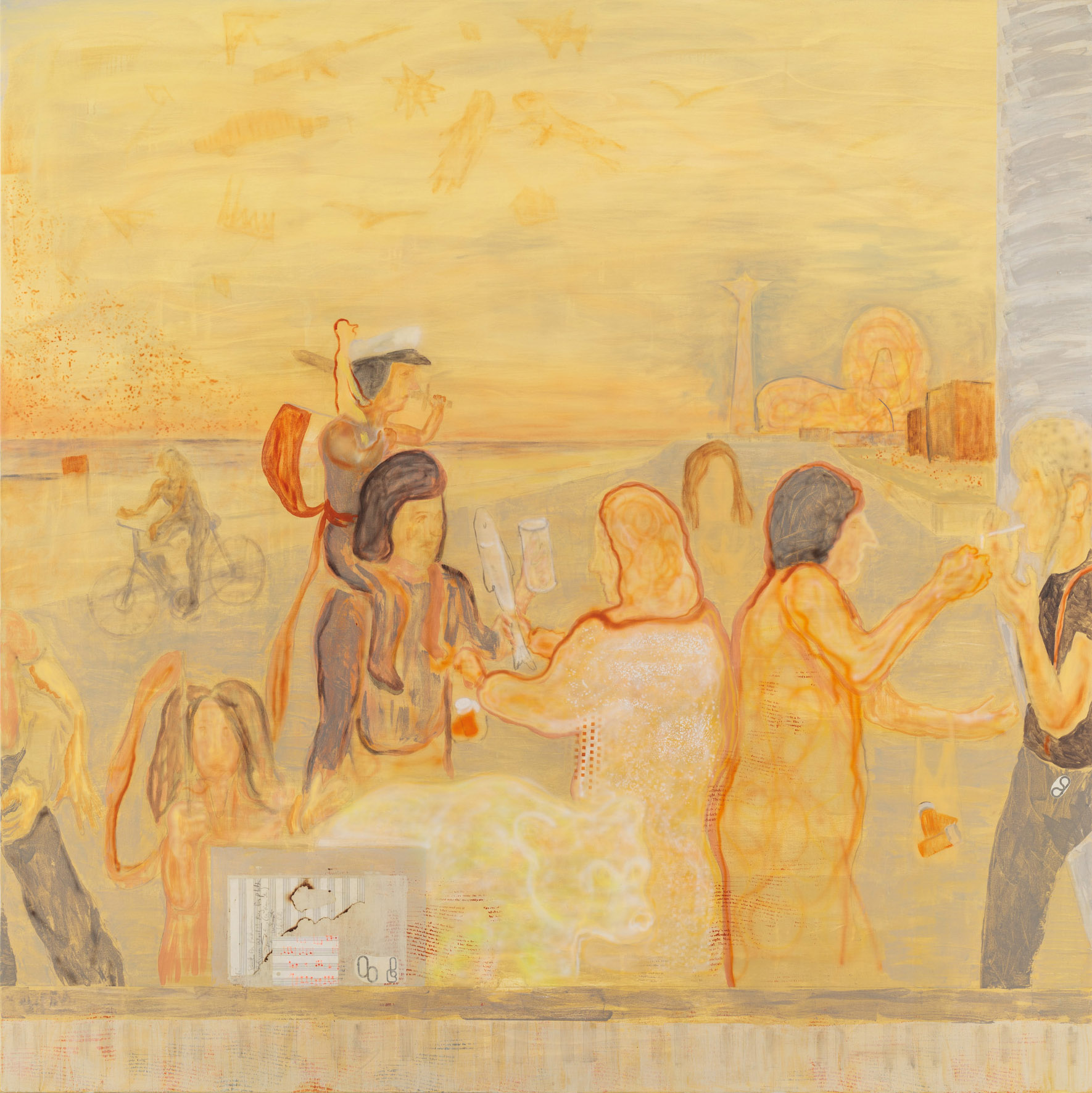 "Babushkas Sell Pills At Brighton, 72"" x 72"", Oil, Screenprint, Acrylic, and Airbrush on Canvas, 2017."
