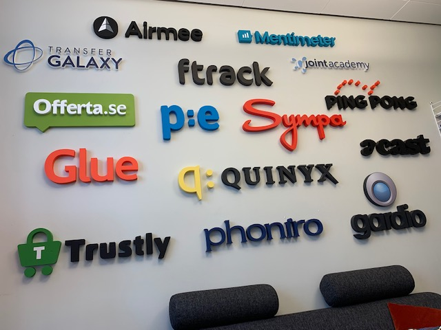 Alfvén & Didrikson's office wall in Stockholm features the logos of its portfolio companies.