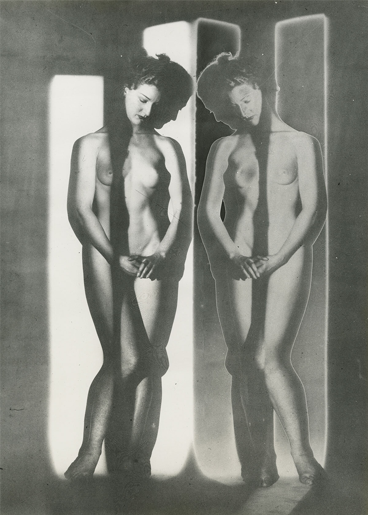 Solarized Double Mirror Cubist Nude, New York, 1945