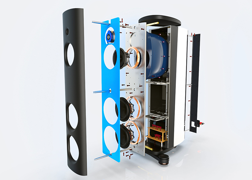 - An internal three-axis matrix framework along with three tension rods running front to back internally contribute to an extremely rigid enclosure which eliminates unwanted resonances and colorations, allowing all drivers to perform with stunning resolution and dynamics. All four drivers in the M2 are acoustically integrated using Magico's exclusive Elliptical Symmetry Crossover topology (24 dB Linkwitz-Riley) that includes state-of-the-art components from Mundorf of Germany.A purpose built sub-enclosure formed of a proprietary polymer material houses the midrange driver to optimize the control and articulation of mid-band frequencies and provides protection from the massive back wave pressure of the bass drivers. Midrange sub-enclosures using different shapes, sizes and materials have been implemented throughout the history of Magico 3-way loudspeaker designs.