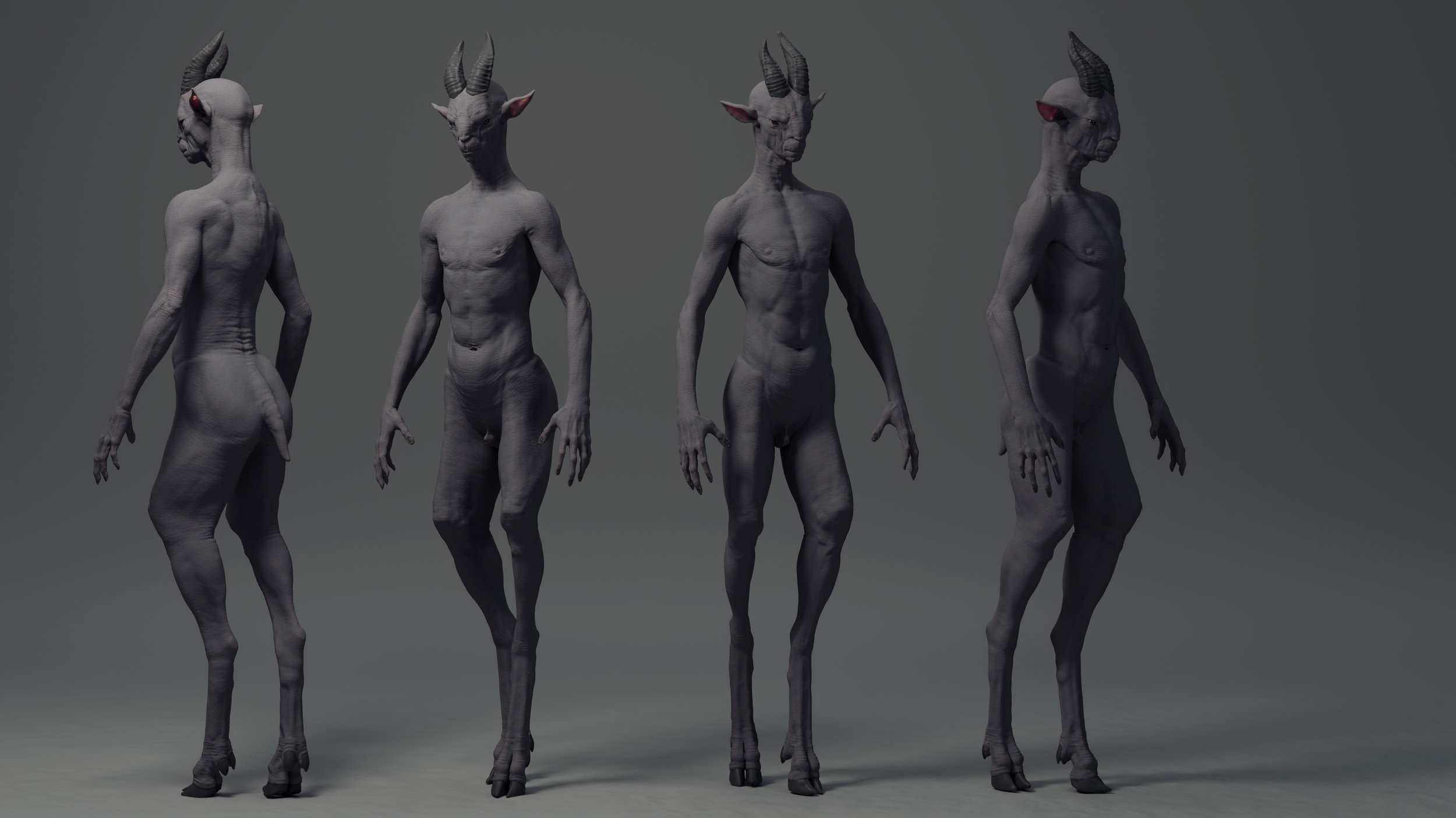 WiP shots of a sculpt I'm working on. Trying to resolve goats leg on a humanoid in a interesting way.