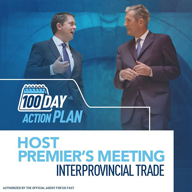 Trade between our provinces has been a disaster over the last four years - something needs to change.  Today, Andrew Scheer announced his plan to meet with Premiers and launch a new interprovincial free trade agreement within his first 100 days as Prime Minister. The meeting will take place on January 6, 2020, and afterwards a new Conservative government will create a process to determine whether differences in laws and regulations unnecessarily prevent trade or whether they are reasonable exercises of provincial jurisdiction.  As well, to increase opportunities for Canadians to work anywhere in Canada, a new Conservative government will expand the Red Seal Program to recognize common credentials. It's time our federal government works with our provinces, not against them. It's time for a government that will help YOU get ahead.