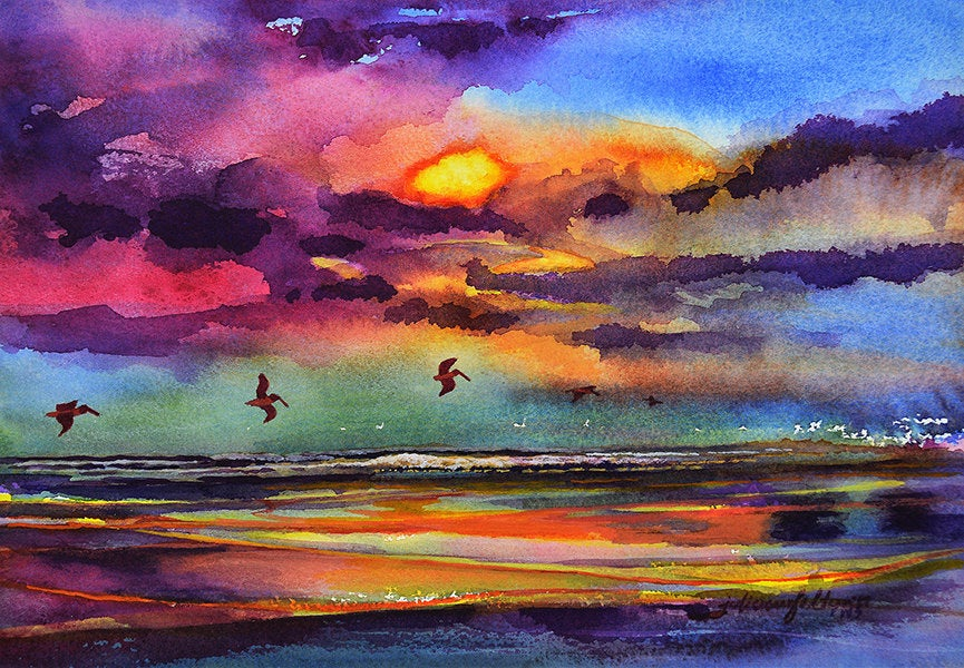 """""""Sunrise with Pelicans"""", painting by Julianne Felton"""