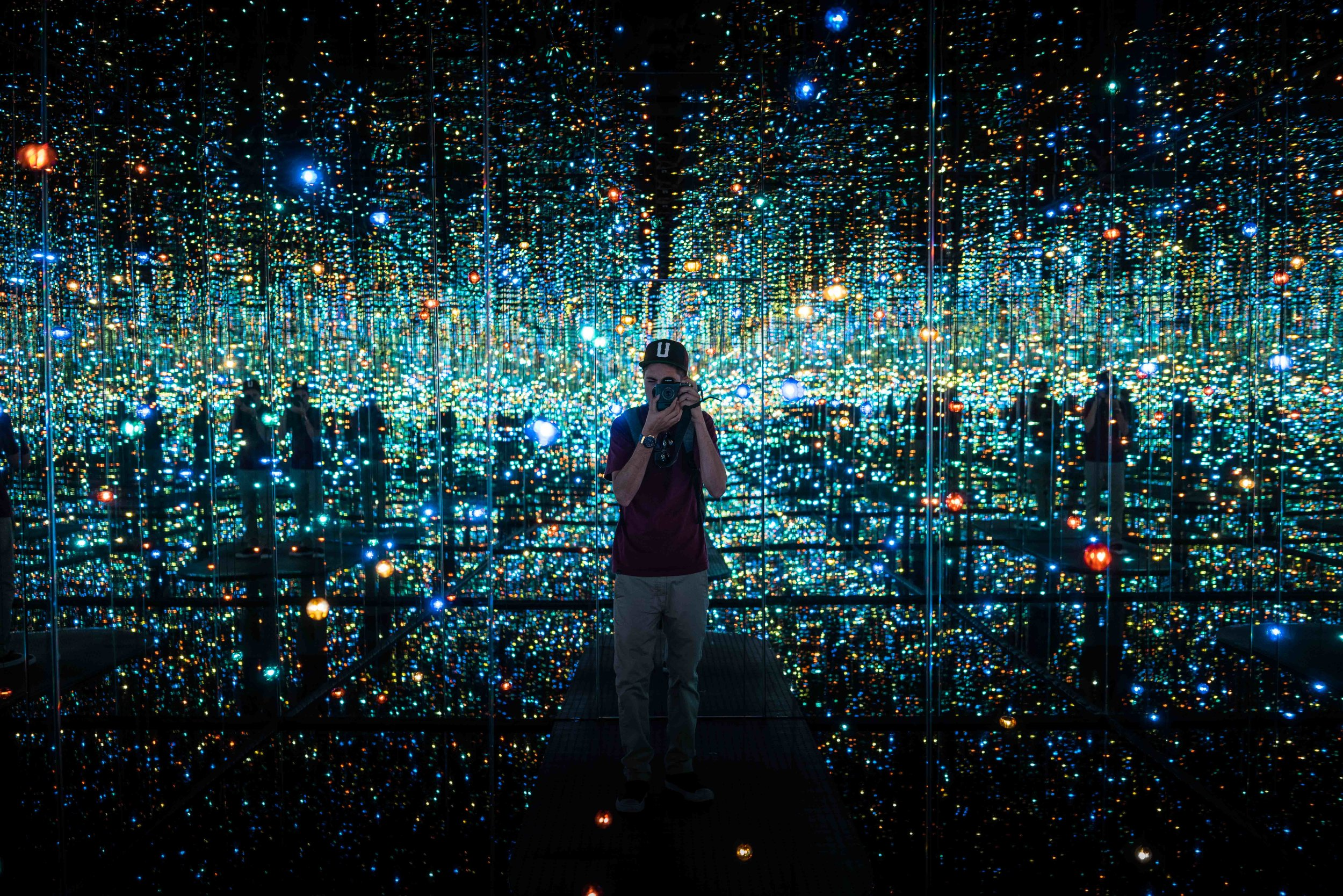 Self-portrait in front of a Yayoi Kusama installation at The Broad Museum, downtown Los Angeles.