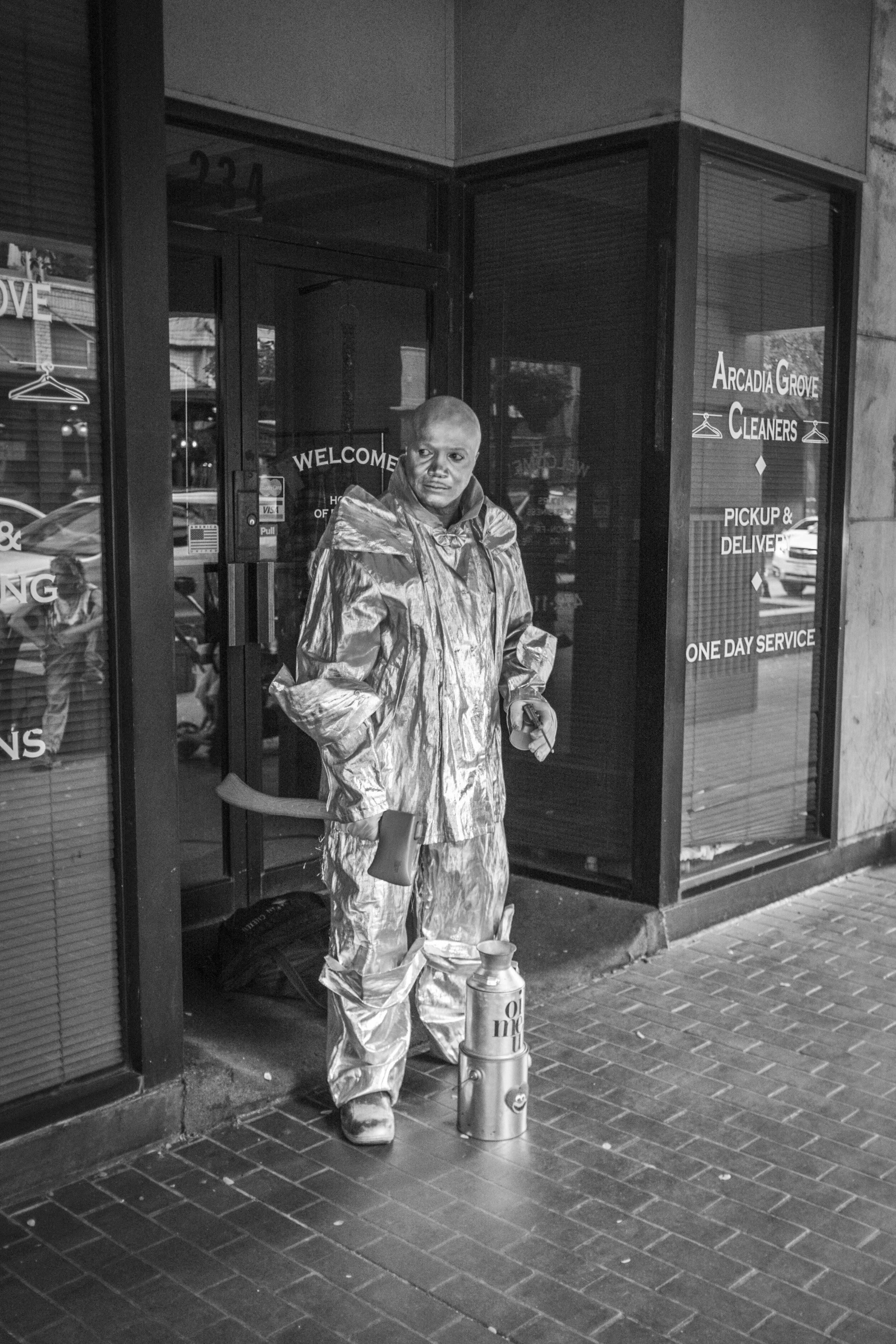 """""""The Tin Man"""" Downtown San Antonio, TX. This gentleman was telling everybody walking by, """"Come take a pic with the Tin Man."""""""