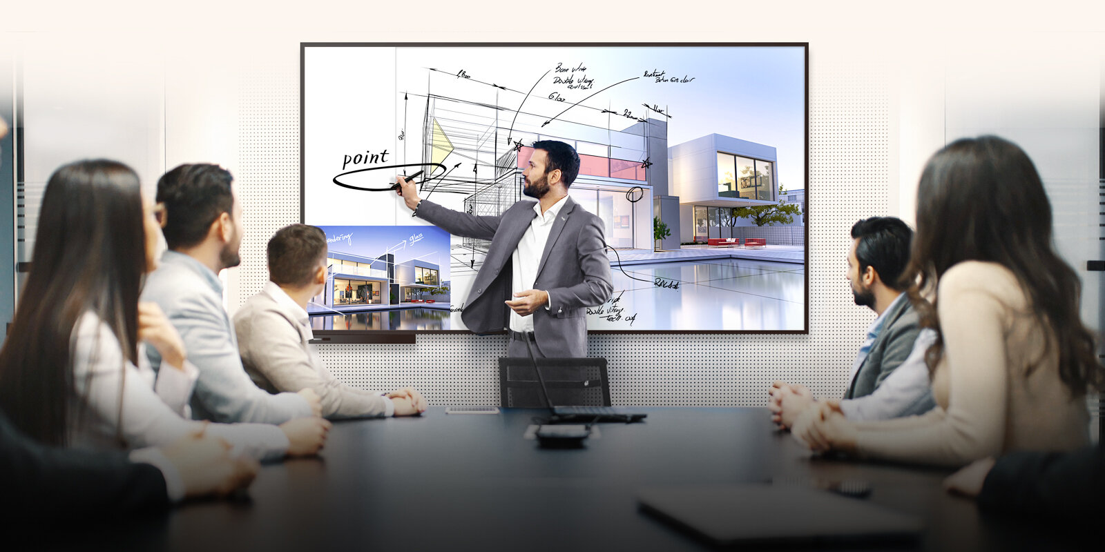Conference Room with Interactive Touch Screen