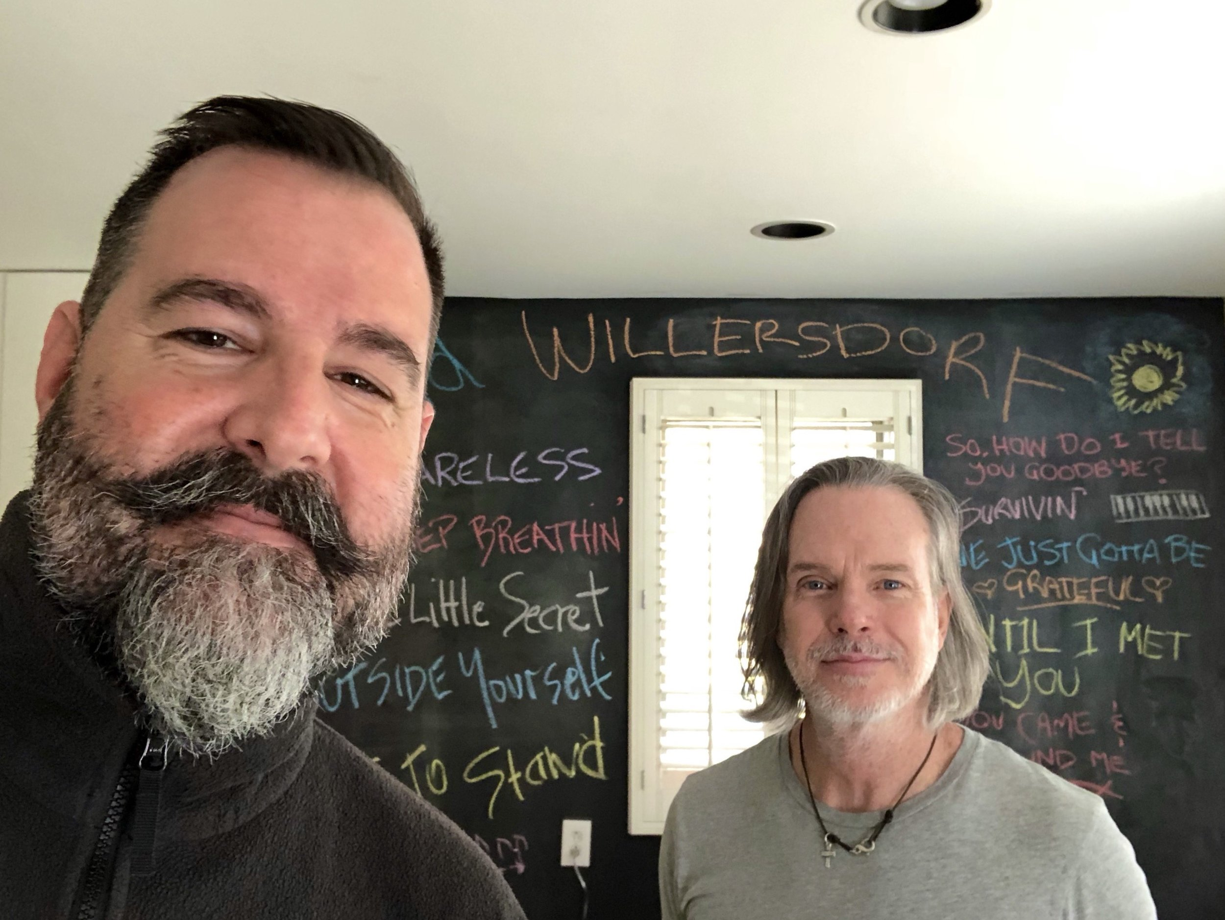 "David Willersdorf and producer Rick Price at Rick's Harpeth Trace studio in Nashville for the recording of David's ""Outside the Inside"" album."