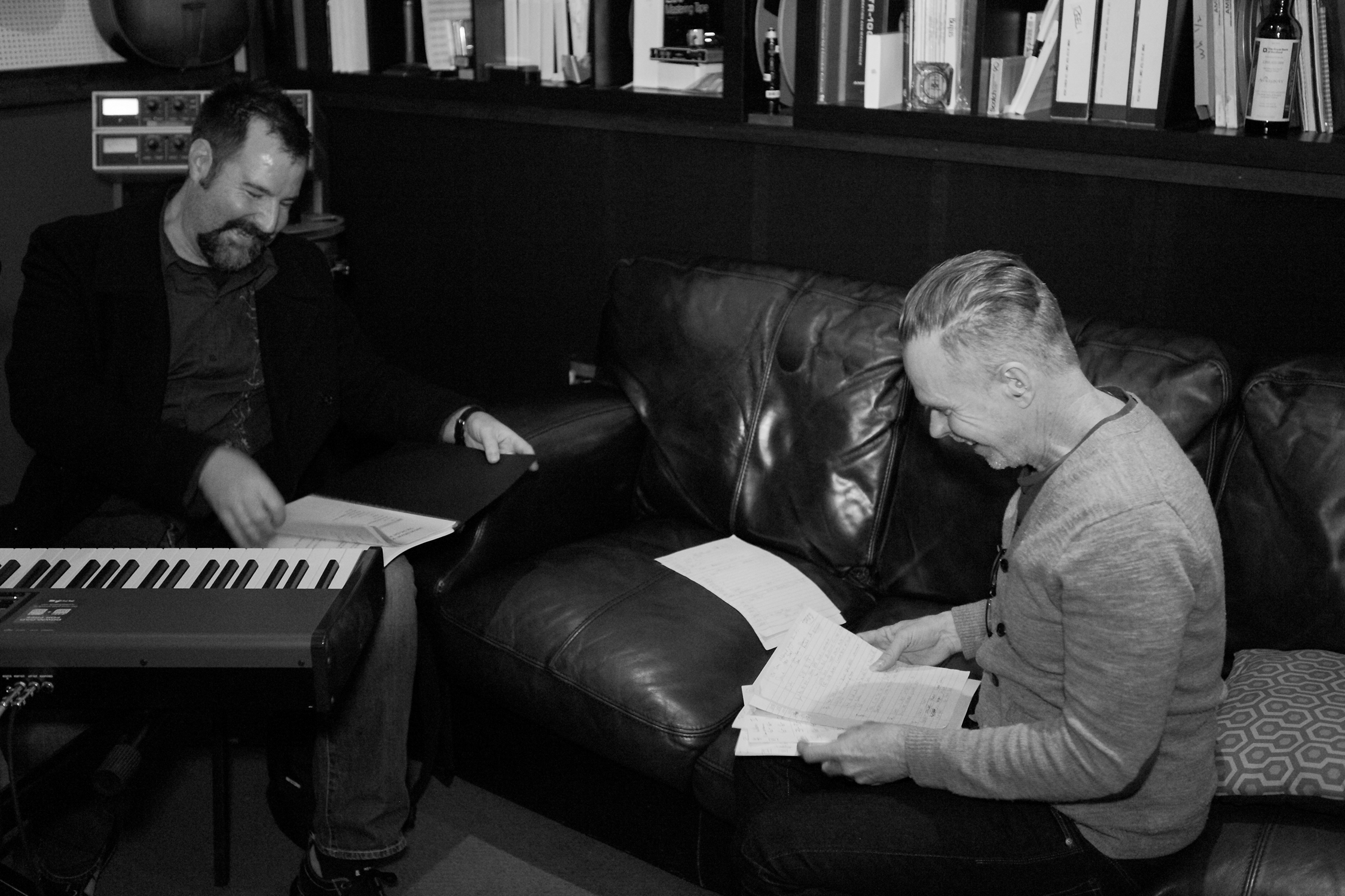 "David Willersdorf and producer Rick Price during the recording of David's ""Fire This Love"" album at Sputnik Sound studios in East Nashville. [Photo Credit: Price Harrison]"