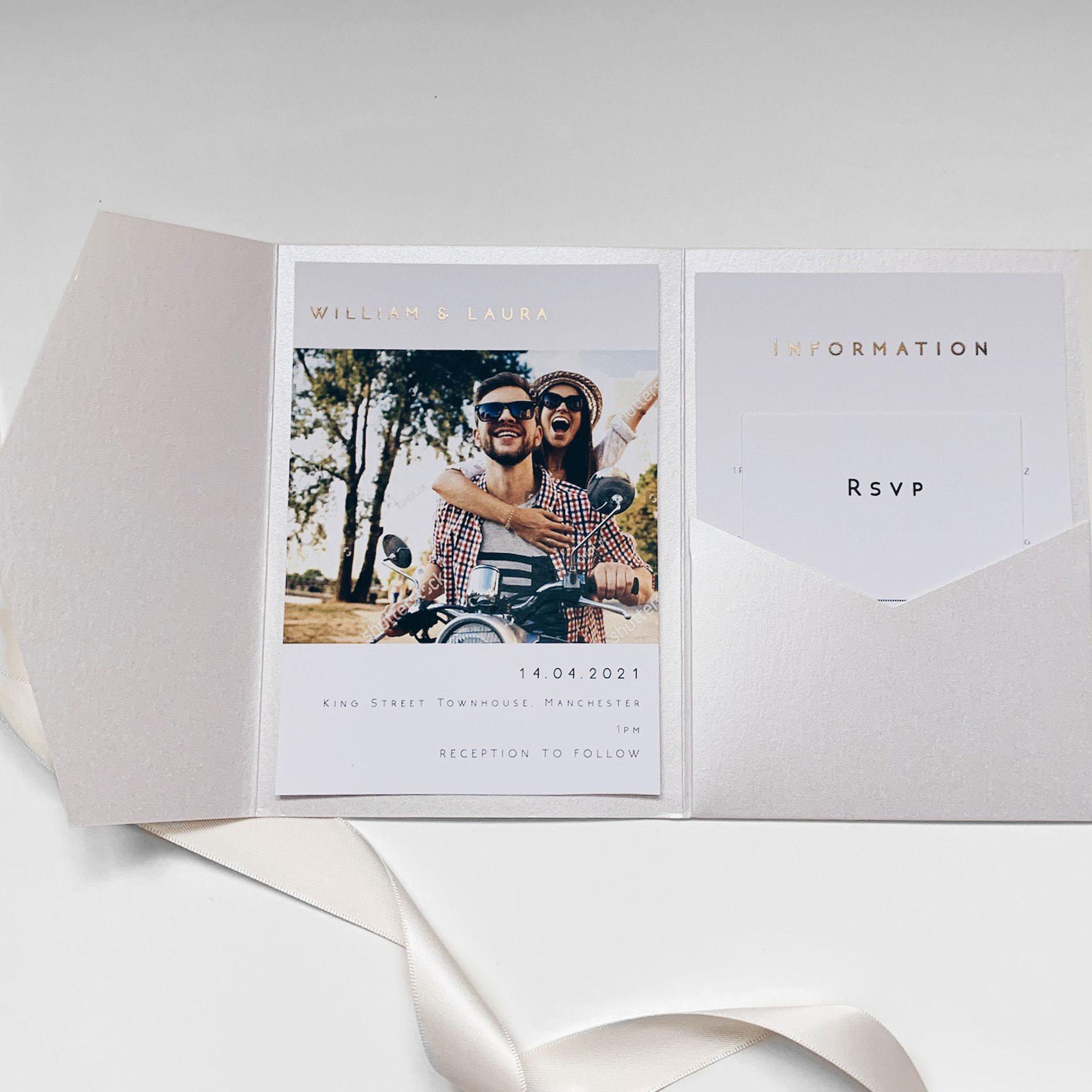 Dinky Pocketfold Wedding Invitation