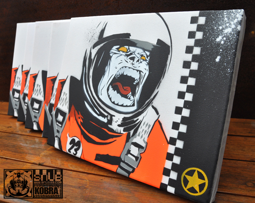 SNUB SPACE MONKEY CANVAS EDITION  Hand cut multi layered stencil on a canvas Edition of five. Signed and stamped. Postage & packing included 30cm x 24cm