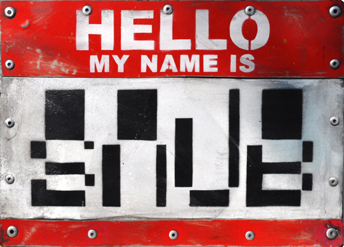 HELLO MY NAME IS..  Stencil on hand cut reflective metal mounted on wooden block. First in a new series. Textured and distressed Signed & Numbered postage & packing included 30cm x 21cm x 5cm