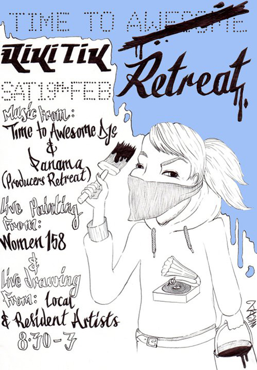 "Saturday 19th February sees our monthly party do things a little differently – but a lot bigger…  -=::TIME TO RETREAT!::=-  The Riki Tik boys have teamed up with Brighton's forward thinking creative collective from The Caxton Arms; ""Producer's Retreat"" Producer's Retreat is a monthly get together where exciting and experienced artists and producers can showcase their skills to newbies and veterans alike. Over the past 12 months they have guested exclusive sets from acts such as: Kidkanevil, Hizzle Guy, Tom Caruana, Aztk, Ido & The Evil Sun and Beyond; co-fronted by Max Wheeler of cult UK hip-hop duo Dirty Diggers. DJs shall not let them get away lightly from showing us their skills on the turntables – graced in the last few months by the likes of Darkhouse Family (Metabeats / Chesus & Don Leisure), Dark Sky (Black Acre / Ninja Tune), Throwing Snow (A Future Without / Ho-Tep), Greymatter (Mr. Bongo Bass), Thirsty Ear & Blood Boy (This City Is Ours). Here's a sum up of what's happening – full list of DJs and artists soon: LIVE GRAFFITI SHOWCASE from WOMEN158 (women158.com) DJ SETS from TIME TO AWESOME! & PANAMA (PRODUCERS RETREAT) VJ SET from ATTAK.MEDIA LIVE ART from PRODUCERS RETREAT COLLECTIVE CD GIVEAWAYS featuring production from both sides"