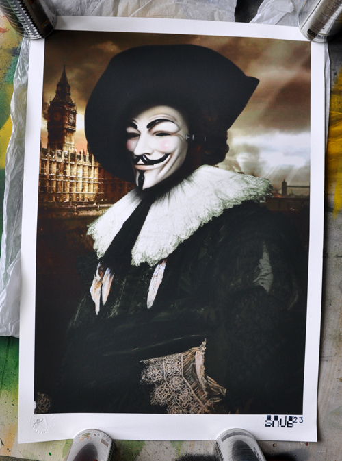 "So here is my contribution to the Artswipe ReMasters show. It's called :  Vi Veri Veniversum Vivus Vici   Latin for ""By the power of truth, I, while living, have conquered the universe"".  A rework of  The laughing cavalier  with a touch of  V for Vendetta .  Private view tonight and then this and all the others will be for sale online. Digital print Hahnemuhle German Etching 310gsm paper."