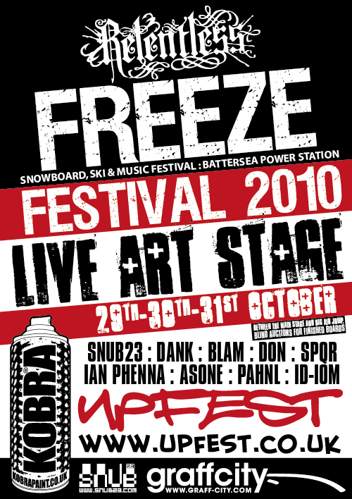 So this year at the FREEZE Festival weekend, I'll be joining the UPFEST crew for a live paint. Right between the Main stage and big air jump (so no distractions then 🙂  Also painting will be: DanK, Ian Phenna, SPQR, Asone, Pahnl, Id-iom, Blam, Don. Event info  here