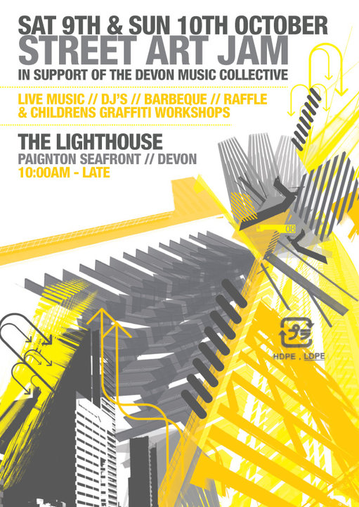 With the support of the Devon music collective we have been given the opportunity to paint the interior and exterior of the lighthouse, an old club on Paignton seafront with live music, dj's, barbecue, raffles and fund raising activities as well as graffiti workshops for the kids!!  This is a non profit event and we are currently seeking funding.  Poster by Jake Davis