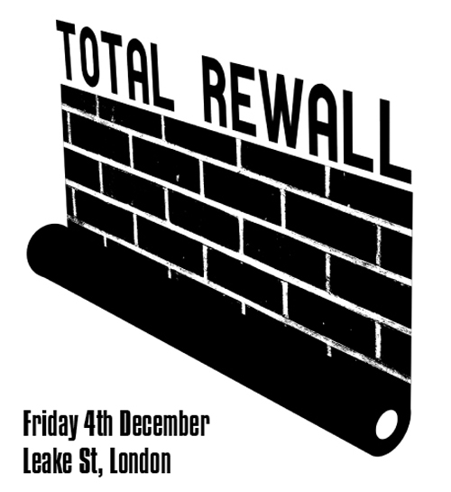 The thirty-two TOTAL REWALL photographers will be posting up giant photographs on the walls of the famous Leake St Tunnel in South London. Each image represents the individual photographer's concept of walls and surfaces capital that are out-of-bounds to street artists, graffiti writers and creative types of every caliber. The photographs will become canvasses, and anopen invitation is extended to everyone who feels they would like to contribute to the project by stenciling, spraying or drawing on them in a way that adds to or changes the original image.
