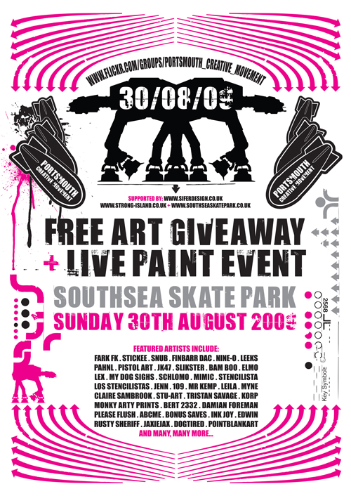 Event over in Portsmouth on bank holiday weekend. Grab some free art, skate and see some live painting. I'll be hitting it up prior to the event due to other events. Hopefully you won't be able to miss the marks I leave 🙂  More info via  LEX  asnd  ELMO