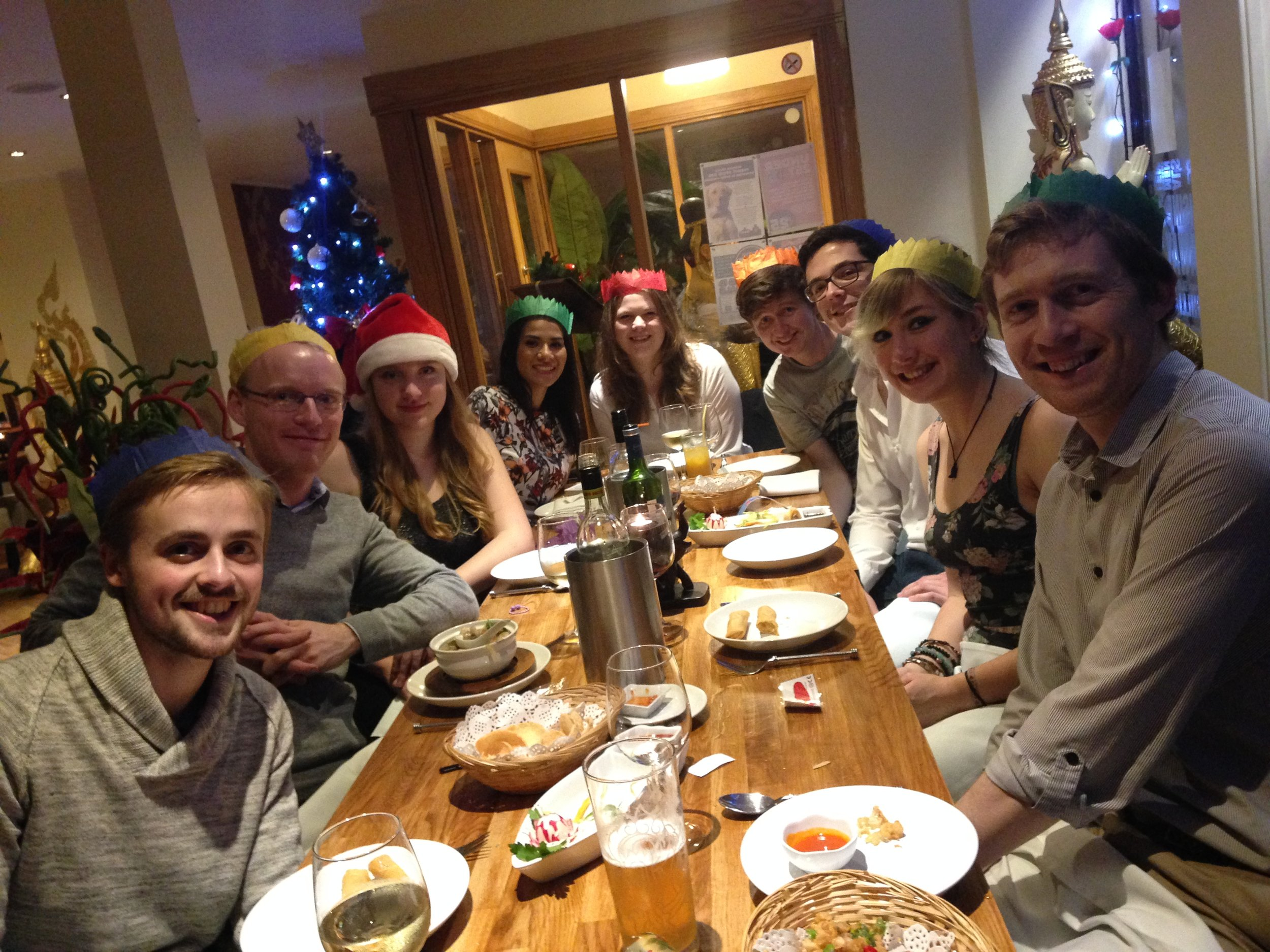 Group Christmas Dinner 2015. From left to right: Archie, Paul, Gemma, Aisha, Alex, Chris, Jack, Jasmine, and James.