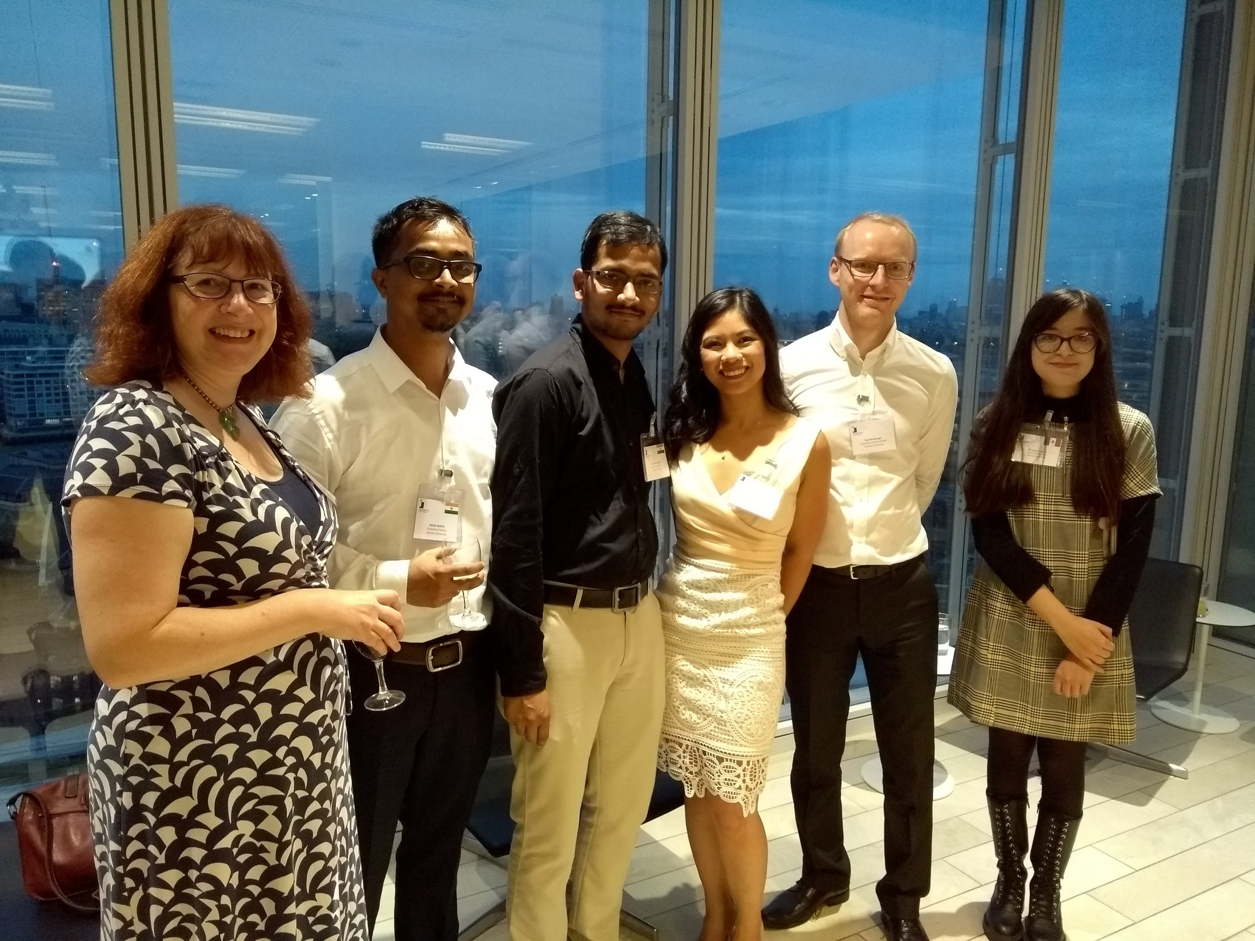 Durham's Rutherford Contingent at the UUKi Rutherford Reception in the Shard, London. l-r: Prof Claire Warwick (PVC Research), Dr Abhijit Mallick (Rutherford Fellow) Dr Pavan Yerramsetti (Rutherford Fellow), Dr Alyssa-Jennifer Avestro (Rutherford Award Holder), Dr Paul McGonigal (Rutherford Award Holder), Dr Ali Huerta-Flores (Rutherford Fellow)