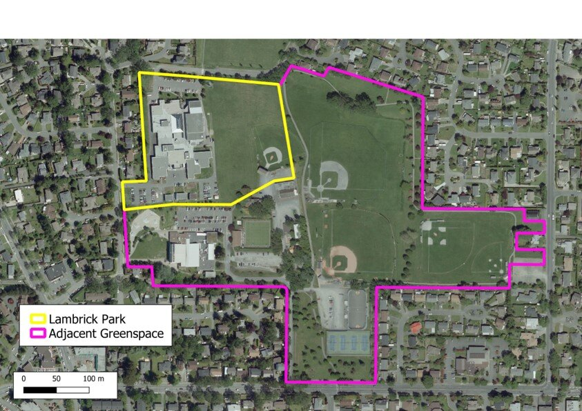 The image above is Lambrick Park Secondary School. Lambrick has the least amount land of all District high schools at 10.3 acres. This is not noticeable to students, as Saanich Parks and Recreation have 35 acres of park space adjacent to the school site.