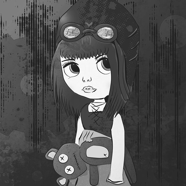 I might even like it more in B&W - by @pixelz.fairy #digitalart #vectorart #vector #graphicdesign #graphicart #steampunk #cutegirl #steampunkgirl #affinitydesigner #frankentoon #vectordesign #affinitydesigner #vintage #vectorvintage #illustration #illustrator #illustrationartists