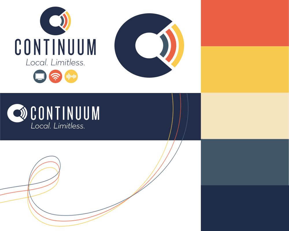 FINAL:  We had two objectives – look reliable and be local. The name,  logo,  and color palette were in charge of reliability. We even got a bonus graphic from the very definition of Continuum. The three color-coded services we offered are always seen looping effortlessly behind everything we do.