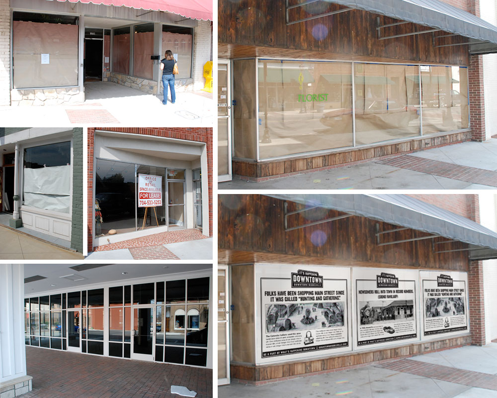 BEFORE : Oh, there was clearly nothing happening Downtown when we started this project. Open shops had huge gaps of vacant, papered-over storefronts between them. That's real bad for encouraging foot traffic and look at the mess. By code, closed businesses had to have their windows papered. So we had the idea to paper them with interesting facts about Downtown. It would pull people through to all the open shops, entertain and educate visitors, clean up the overall look of Downtown Mooresville, and cover up it's vacancy problem. And, being black and white, it'd be affordable. So many problems solved with one easy solution!