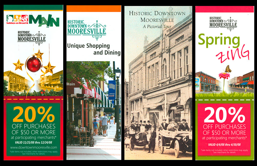 BEFORE:  The many brochures (and identities) of Downtown Mooresville, all in circulation at the same time when we started working with them.