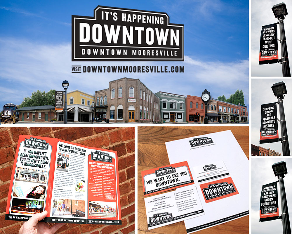 FINAL:  The first step – getting our house in order. With some selective photography we presented the Downtown we wanted people to see. All beautiful old buildings and historic charm. We dressed up Main Street with some handsome, attention-getting, hard-working  street banners , nailed down our identity and made ONE exciting  brochure.