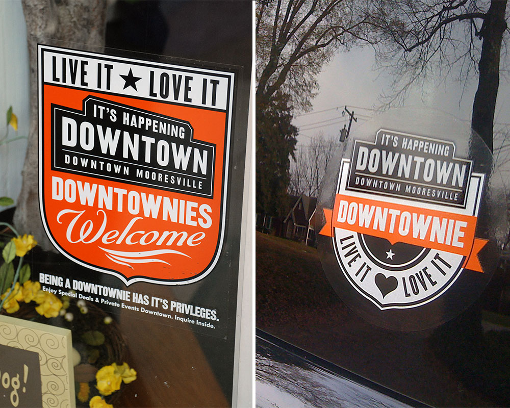 FINAL:  Window clings Downtown tell you who's celebrating Downtownies, while car decals help visitors show their love of Downtown Mooresville.