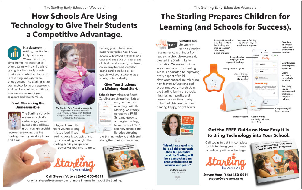 FINAL : A  one-sheet  for interested schools to get a little more detail on how the Starling can help their mission.