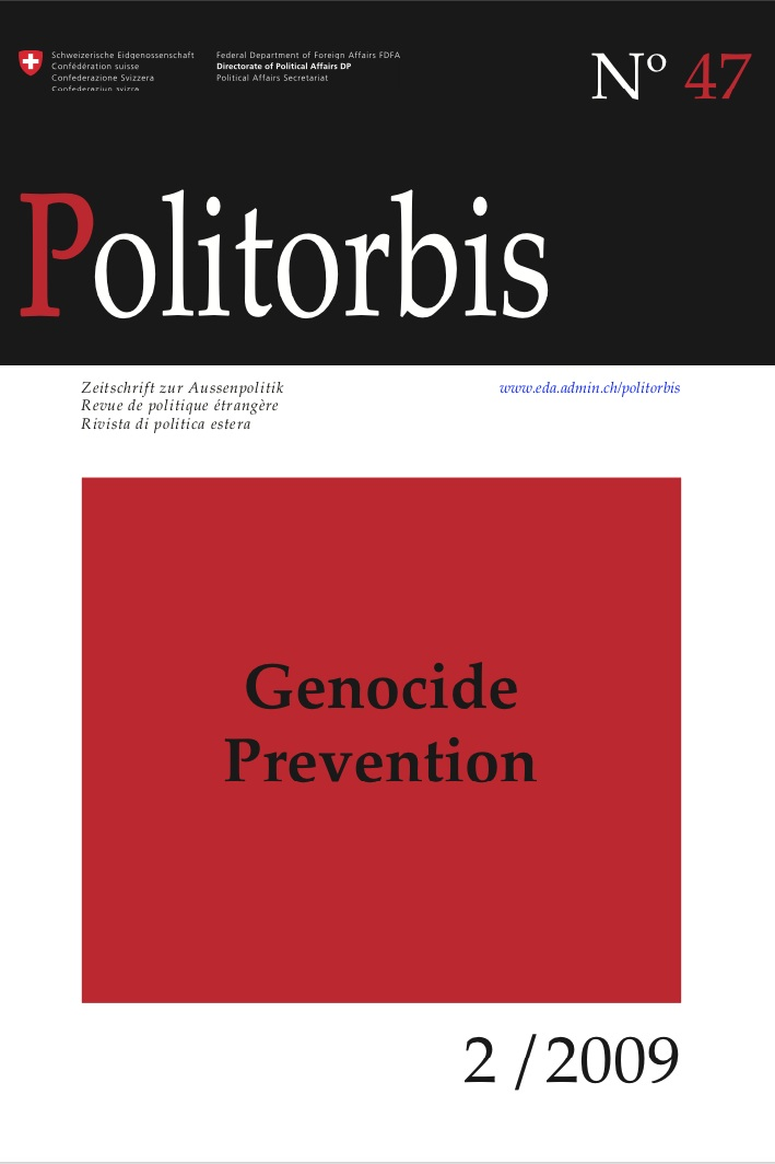 "Mô Bleeker and Andrea Bartoli, eds. ""Special Issue: Genocide Prevention,"" Politorbis No. 47 (2009). -"