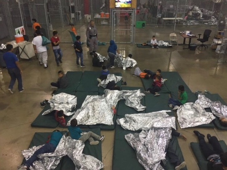 - Photo provided by Customs and Border Patrol to reporter on tour of a detention facility in McAllen, TX. Reporters were not allowed to take their own photos (source)
