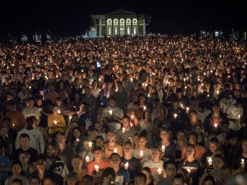 - Thousands of people quietly amassed on the University of Virginia campus in Charlottesville on Wednesday night for an unannounced candlelight vigil (National Public Radio, August 17, 2017).