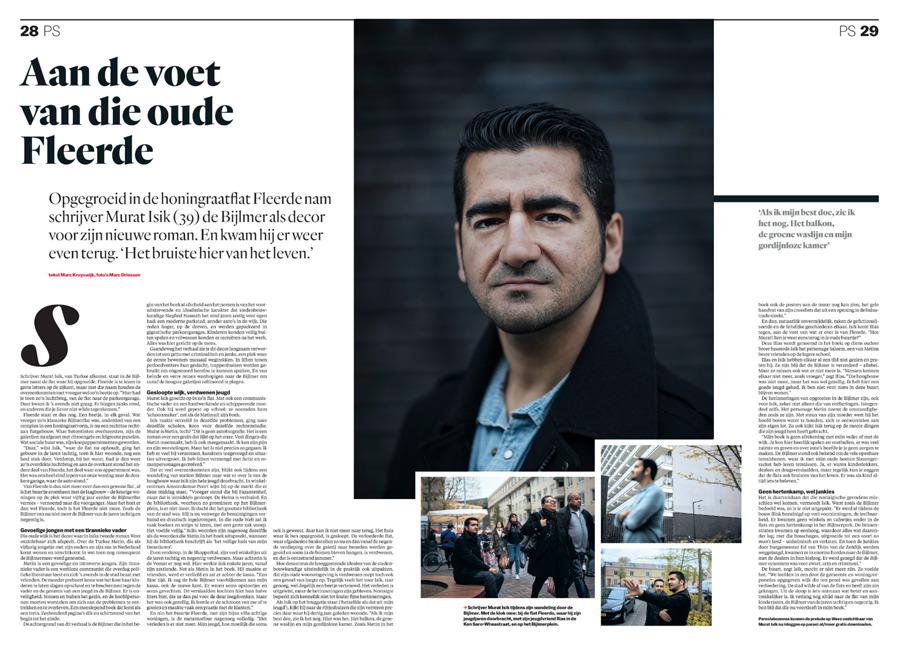Schrijver Murat Isik voor  Het Parool , mei 2017.  Stuk van Marc Kruyswijk, foto's Marc Driessen