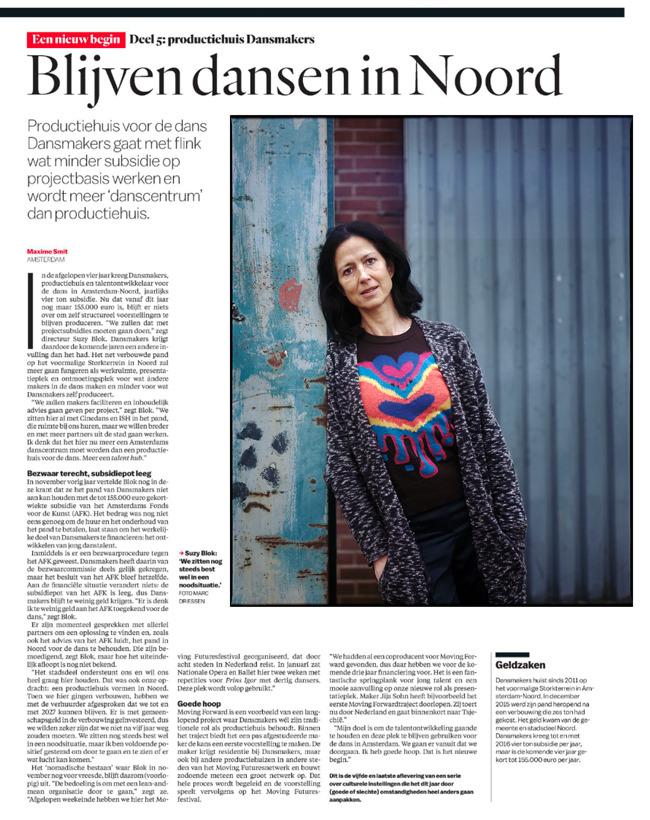 Suzy Blok directeur van Dansmakers in Amsterdam Noord, vandaag in Het Parool. Tekst Maxime Smit foto: Marc Driessen