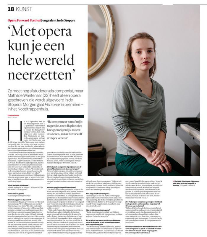 Componiste Mathilde Wantenaar, vandaag in het Parool. Stuk van Erik Voermans,foto © Marc Driessen