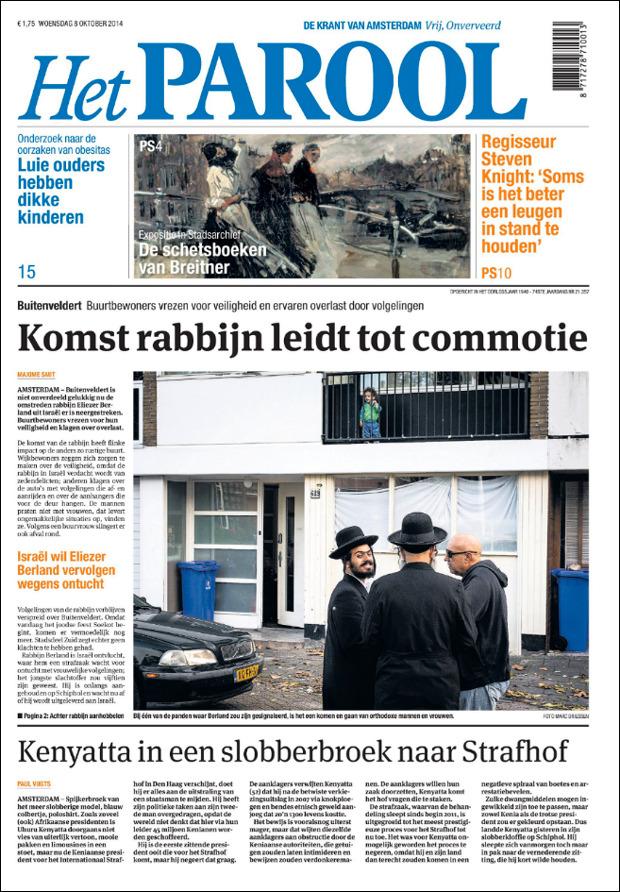 Het Parool, 8 Oktober 2014. De omstreden rabbijn Eliezer Berland is neergestreken in Buitenvelderd, Amsterdam.  Tekst: Maxime Smit Foto: Marc Driessen. Vandaag in Het Parool.