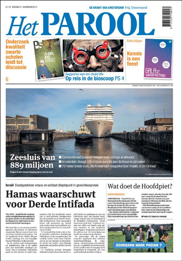 Zeesluis IJmuiden, Het Parool, 11 November 2014.