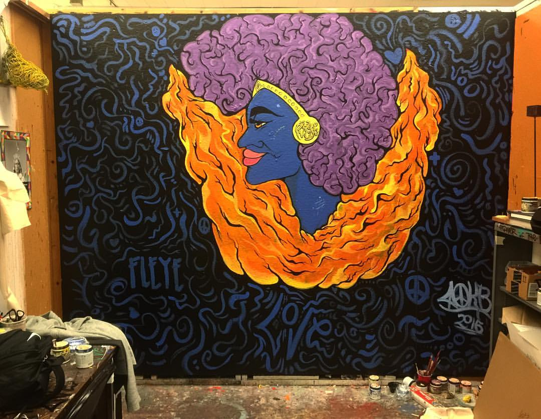 Her Beauty is Hot, But Her Soul is Cold, 10' x 12' Acrylic on Wall, 2016.jpg