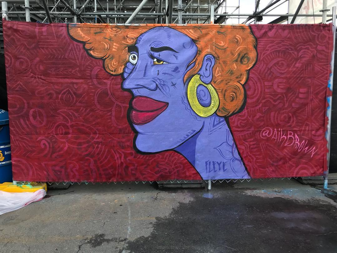 Lady Beauty, 6.5' x 12' Spray Paint on Mesh Fencing, Wide Open Walls Paint the Park Event, 2018.jpg
