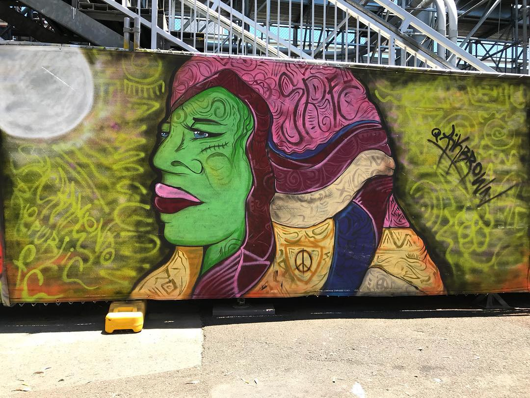 Lady Mysterious, 6' x 15' Spray Paint on Mesh Fencing, Wide Open Walls Paint the Park Event, 2018.jpg