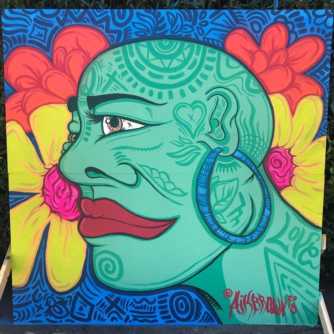 Los Colores Naturales de Ella, 8' x 8' Acrylic and Spray Paint on Wood Panel, 2018.jpg